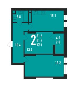 Планировка 2-комнатной квартиры в Ивантеевка 2020
